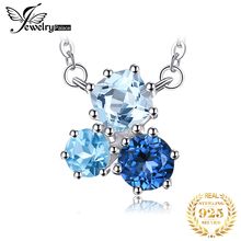 1.7ct Natural Multi London Blue Topaz Pendant Necklace 925 Sterling Silver Chain Gemstones Choker Statement Necklace Women 45cm jewelrypalace luxury pear cut 7 4ct created emerald solid 925 sterling silver pendant necklace 45cm chain for women 2018 hot