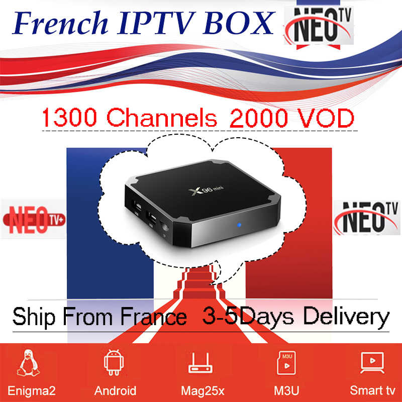 Iptv france X96 mini smart Android tv Box 1500 en direct 1 an neo tv pro m3u abonnement arabe français belgique iptv ensemble décodeur tv