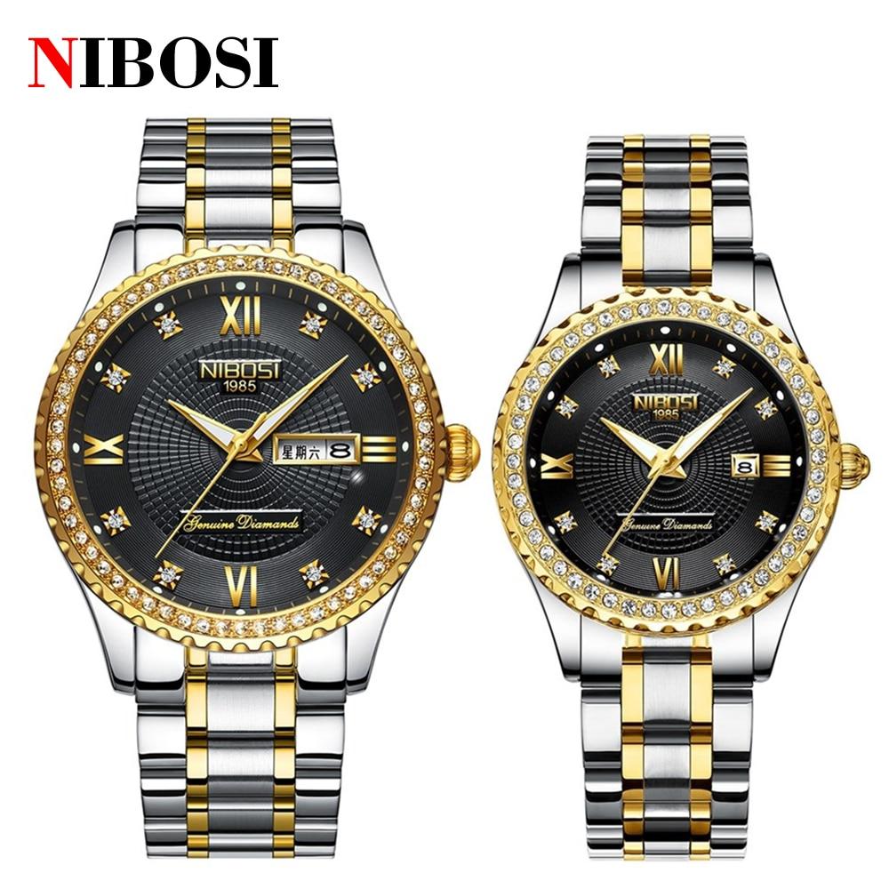 NIBOSI Fashion Luxury Brand Lovers Watches Men Women Casual Quartz Watch Women's Dress Couple Watch Clock Relogios Femininos