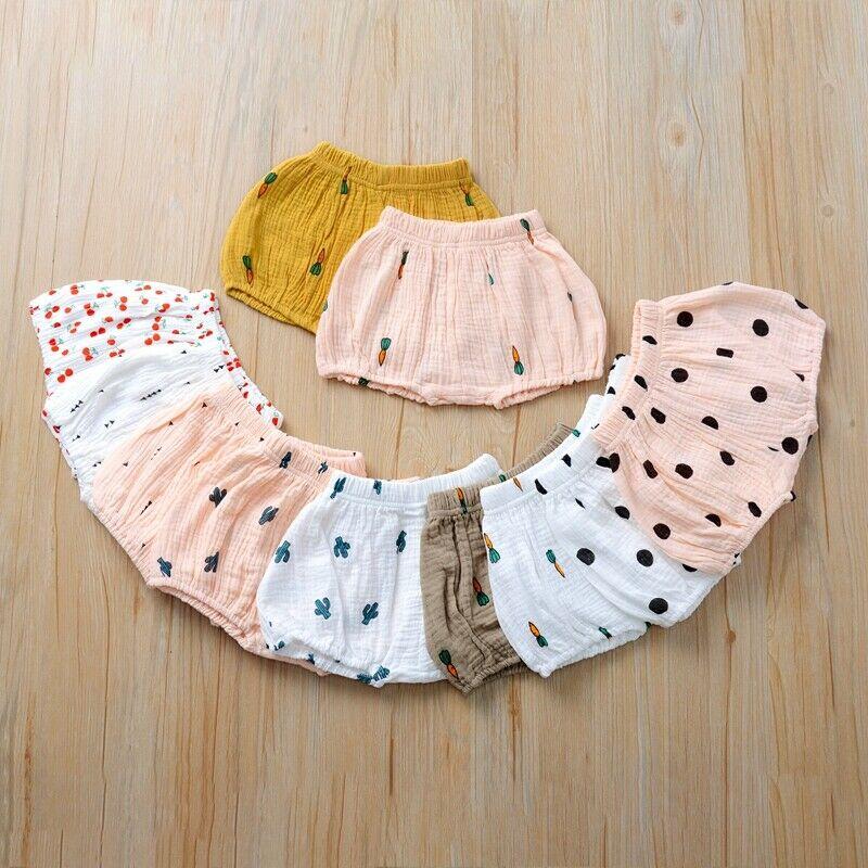 UK Cute Baby Infant Girl Boy Cotton Linen Bloomer Shorts Pants Bottoms Underwear