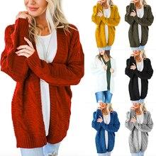 Women Knit Cardigan Sweater Long Sleeve Open Front 2019 Chunky Coat Pointelle Knitted Top Winter Women Knitwear Femme De Moda open front plaid knit cardigan