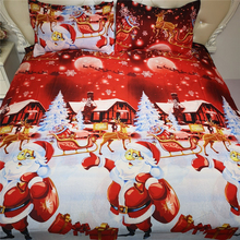 Cartoon Bedding Set Girls Bed Decoration Duvet Cover  Merry Christmas Quilt Bedclothes Kids Red Linen
