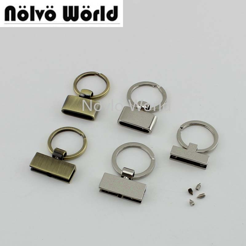 50pcs 5 Colors 4 Styles Rainbow/Rose Gold T-shape Key Fob 24mm Split Key Rings,Key Fob Hardware Keychain Fob
