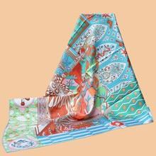 HuaJun – foulard en soie 90, imprimé sergé, anti-rides, couture faite à La main, début du printemps, avec «La Danse des Amazones»
