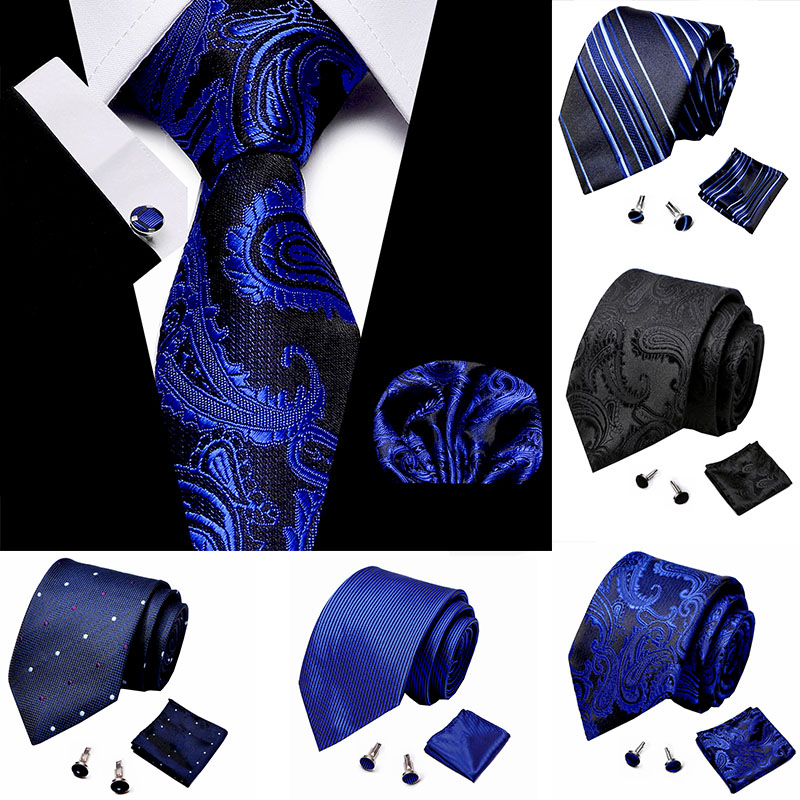 Classical Men Handkerchief Cuffink Necktie Set Blue Polyester Jacquard 100% Silk Jacquard Woven Neck Tie Suit Wedding Mens Ties