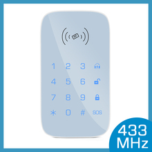 433MHz Wireless keypad for smart home security system kit for burglar fire alarm host control panel support RFID tag Arm Disarm