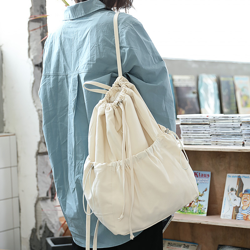 Korean Version Of The Simple Small Fresh Bag Casual Literary Arts Pumping Bag Schoolbag Student Rucksack