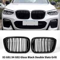 Front Bumper Kidney Grill Replacement Dual Slat Grilles for BMW X3 G01 X4 G02 2018 2020(Gloss Black)X3 Grill X4 Grill