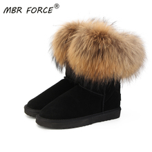 Winter Boots Shoes Female Genuine-Cow-Leather Fashion Women's Mbr Force No Fur Real-Fox-Fur