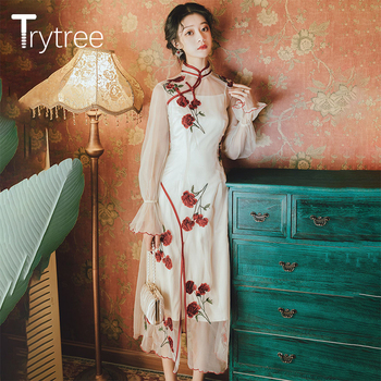 Trytree 2020 Spring Two piece set Casual Solid Long Vest  + Mesh Dress Cheongsam Rose Embroidery Split Hem Set 2 Piece