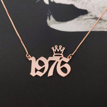 Rose Gold Box Chain Old English Numerals Necklace Custom Crown Name Necklaces Number Birth Year Choker Personalized Gift For Kid ailin freeshipping personalized mo in rose gold color custom made 3 initials circle block monogrammed necklace choker with chain