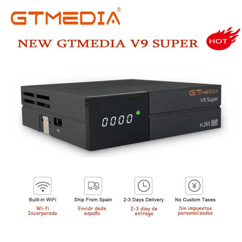 GTmedia V9 Super Digital TV Satellitare Ricevitore DVB-S2 H.265 DRE & Biss chiave Spagna cline PK Freesat V7S HD V8 NOVA X96 Mini