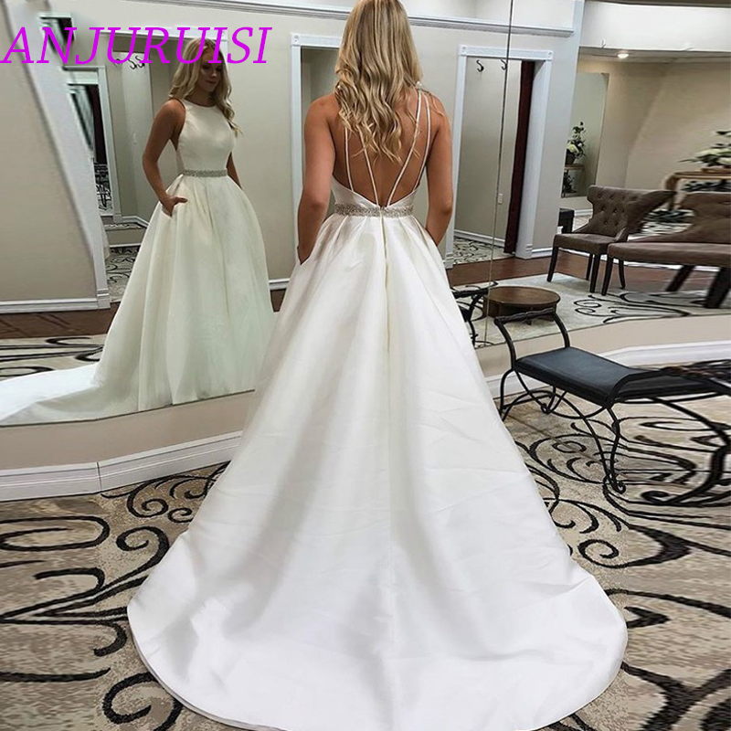 ANJURUISI Simple Fashion Satin A Line Wedding Dresses 2020 Backless Beaded Sashes With Pockets Sexy Bridal Gowns robe de mariee