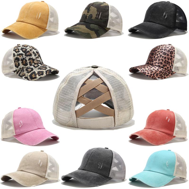 2020 berretto da Baseball coda di cavallo cappellini da camionista in cotone lavato afflitto da donna cappello Casual Snapback estivo cappelli da papà in raso con bordo glitterato 1