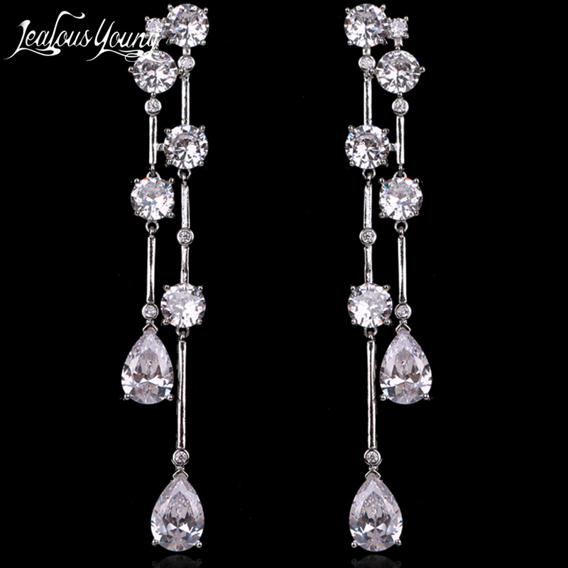 Luxury Round Zircon Long Drop Earrings with Silver Color Tassel Korean Wedding Earring for Women Party Jewelry