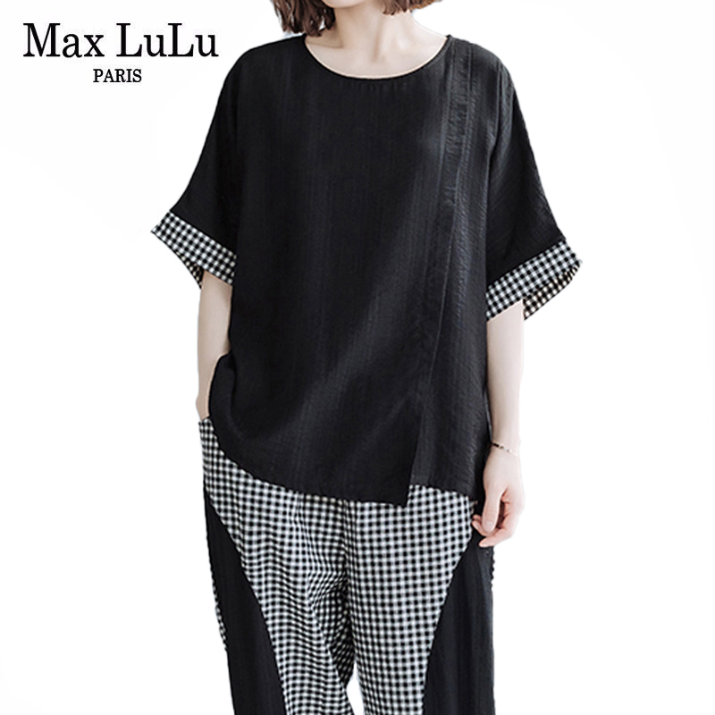 Max LuLu 2020 Fashion Korean Summer Ladies 2 Pieces Sets Womens Tops And Denim Elastic Pants Casual Plaid Tracksuit Club Outfits