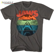 Brand New 2019 Summer Mens Short OFFICIAL Jaws Retro Vintage Rainbow Shark T-Shirt  Cute T Shirts