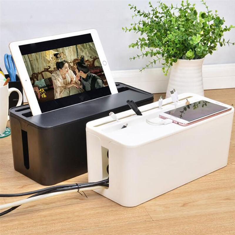 Useful Power Cord Storage Box Power Strip Data Headset Finishing Wire <font><b>Organizer</b></font> <font><b>Cable</b></font> Management Wire Arranging Case for Home image