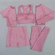 Женский бесшовный комплект для йоги из 5 предметов, спортивная одежда для тренировок, одежда для спортзала, короткий/укороченный топ с длинными рукавами, леггинсы с высокой талией, спортивный костюм