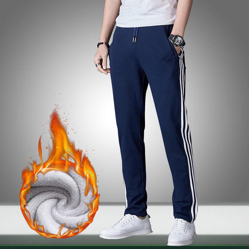 New Men Joggers Pants Striped Autumn Winter Warm Fleece Mens Casual Solid Sweatpants Fitness Bodybuilding Gyms Straight Trousers