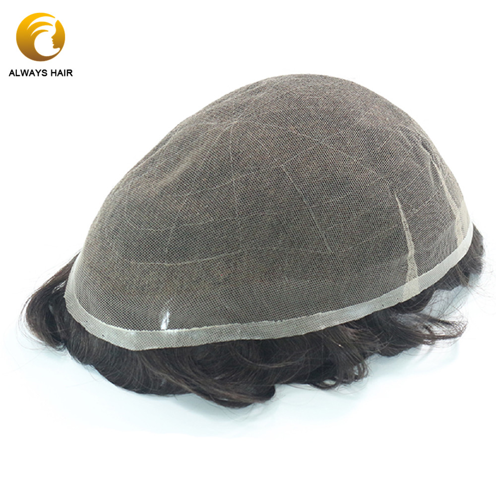 Invisible Hairline Full  Swiss Lace Toupee Men  6 Inch 90 Hair Density Gentlemen Wig Male 8x10 Natural Human Hair System Men