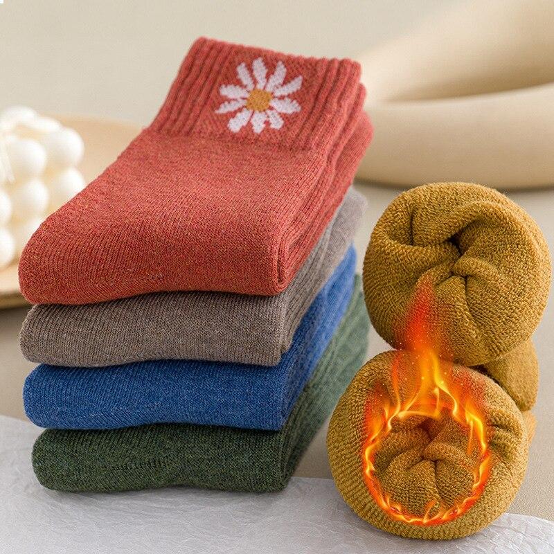 5 пар/компл. утепленные Термальность носки из шерсти и кашемира зимние теплые махровые носки с рисунком женские Дейзи с эластичной резинкой ...