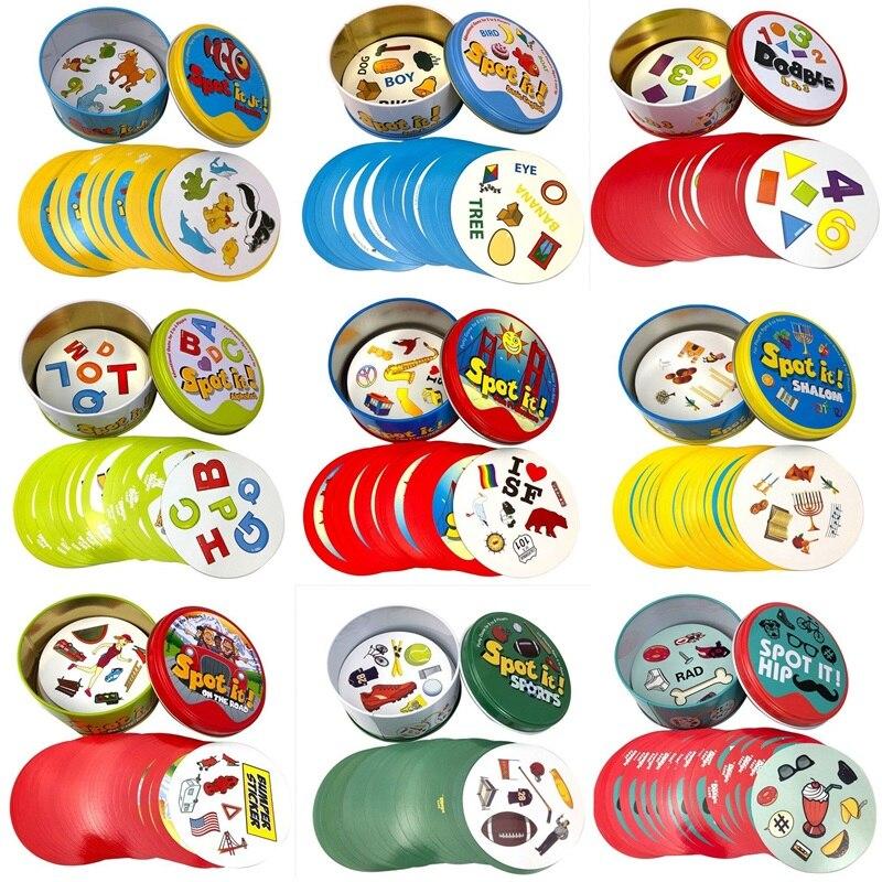 Carte de jeu de société Dobble avec boîte en métal, style Spot it, version anglaise de base, accessoire pour vacance, camping et fête, jouet Shalom,