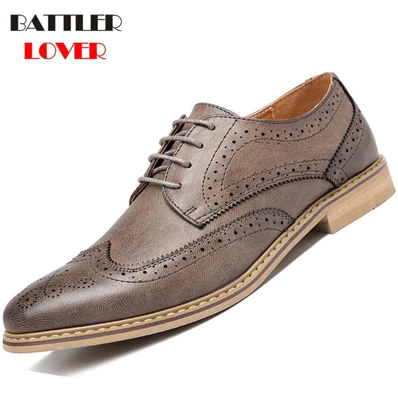 Luxury Men Brogue Leather Dress Shoes Autumn Men Business Wedding Shoes Lace Up Mens Formal Shoes Oxfords Shoes For Men Fashion