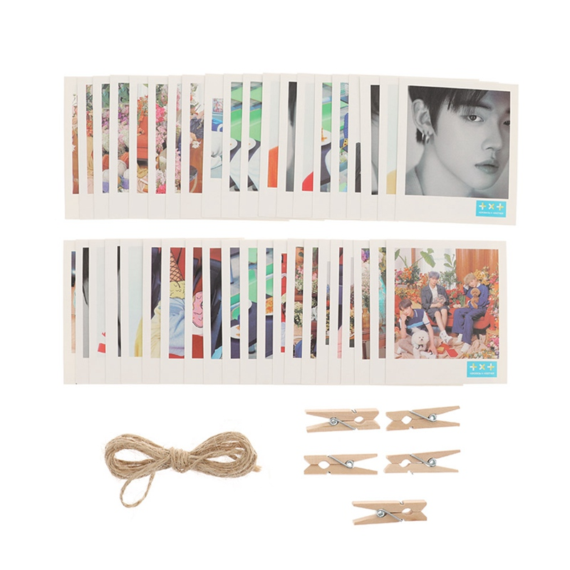 Kpop LOMO Cards  TXT YEONJUN SOOBIN BEOMGYU TAEHYUN HUENING KAI  Photo Cards LOMO 40Pcs/Set Small Cards With Clips And Rope