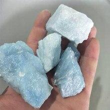 100g raw Natural blue aeroides quartz crystal mineral specimen tumbled stone loose Aquamarine gemstone for decorative