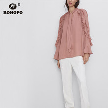 ROHOPO High Low Ruffled Flare Long Sleeve Tiw bow Collar Pink Chiffon Blouse Tops #9469