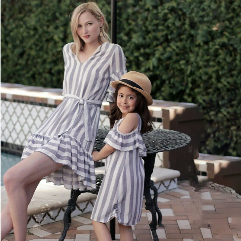 Emmababy Family Matching Clothes Women Girl Mother And Daughter Striped Dresses Outfit