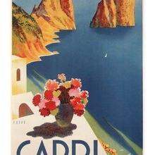 Capri VINTAGE póster de viaje Mario Puppo Italia 1952 pinturas al óleo lienzo impresiones arte de la pared para la decoración del dormitorio de la sala de estar