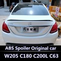 For Mercedes Benz W205 Spoiler 2016 2019 C class C180 C200L C63 Spoiler High Quality ABS Car Rear Wing Black white spoiier
