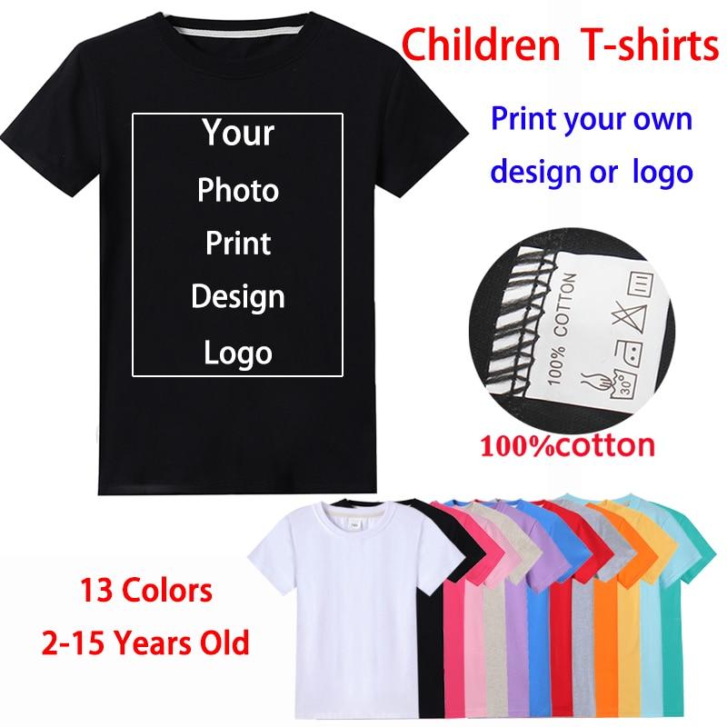 Детская Хлопковая футболка с индивидуальным принтом, с логотипом