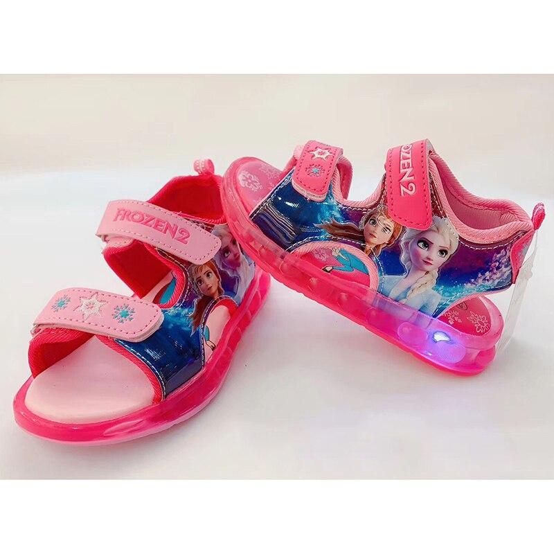 Girls Froen 2 Princess Elsa Anna Sandals With Led Light Summer Spring Summer Shoes  Kids Sport Dance Beach Shoes Size 26-31