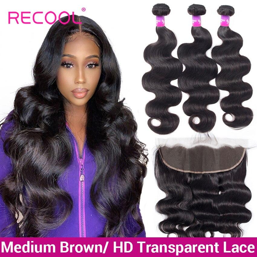 Recool pacotes de tecer cabelo brasileiro com fechamento onda do corpo pacotes com laço transparente frontal feixes de cabelo humano com fechamento