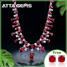 Ruby Sterling Silver Wedding Pendants for Women Engagement Romantic Classic Style Created Ruby Exquisite Necklace Luxury Jewelry