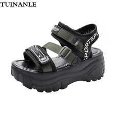 TUINANLE Gladiator Sandals Women Casual Hook & Loop Ladies Sandals Womens Shoes Open Toe Heels Chunky Flat with Sandalias Mujer