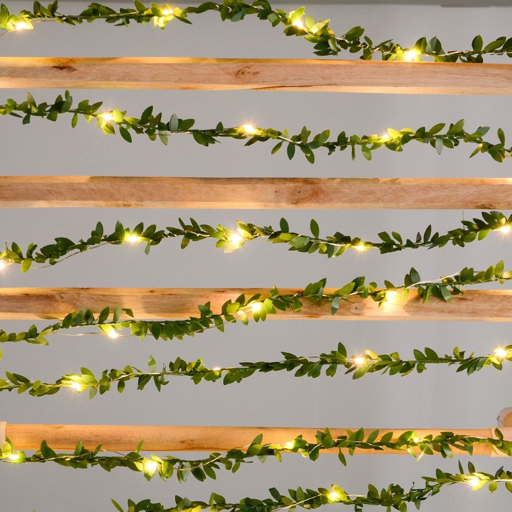 USB Powered 2M/3M/5M/10M Leaf Garland Holiday Lamp Copper Wire LED Fairy String Lights For Christmas Wedding Party Art Decor