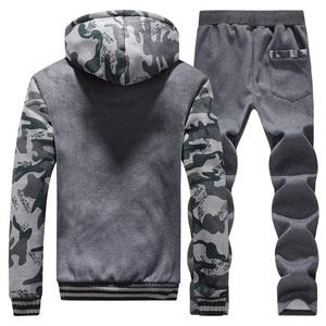 Image 5 - מזדמן גברים אימונית חורף שתי חתיכות סטי צמר עבה סלעית רוכסן מעיל + מכנסיים חם 2 PCS ספורט חליפת Sportswears m 4XL