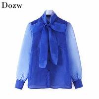 Chic Bogen Kragen Frauen Feste Bluse Elegante Organza Top Langarm Stilvolle Blau Transparent Hemd Weibliche Taste Bluse Tunika
