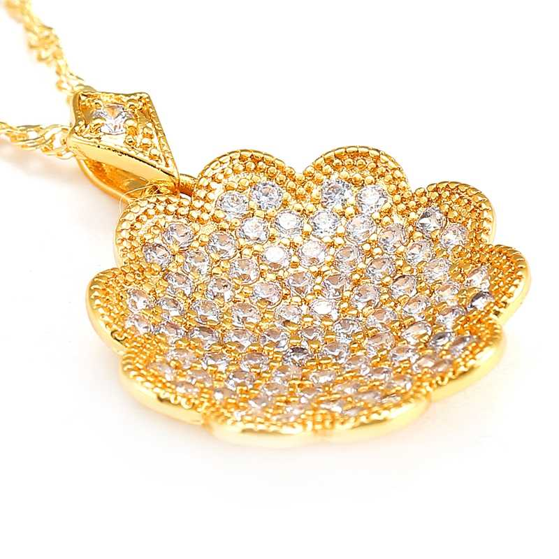 Shiny Paved CZ Crysral Flowers Necklaces & Pendants Gold Color Chain Fashion Wedding Jewelry For Women