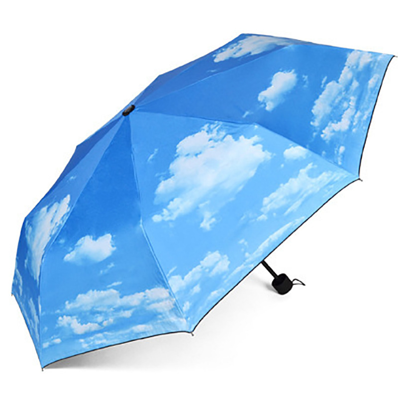 Vinyl NC Fabric Outdoor Advertising Umbrella Blue Sky And White Clouds Three Fold All Parasol Customizable Fashion Creative Umbr