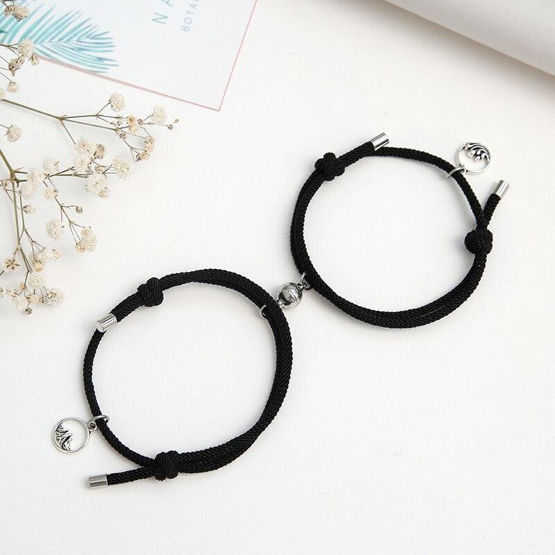 2021 Fashion 2pcs/set Paired Bracelet For Lovers Distance Magnet Couple Braslet Women Men Braided String Brazalete Stone Braclet