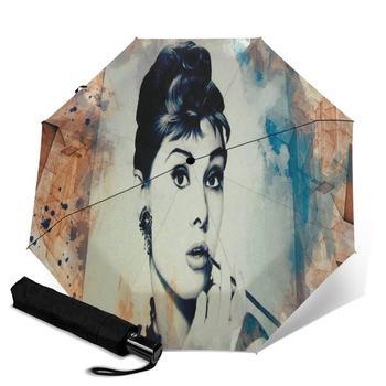 Audrey Hepburn creativo de los hombres y las mujeres es automático triple paraguas para la lluvia día colorido moda paraguas