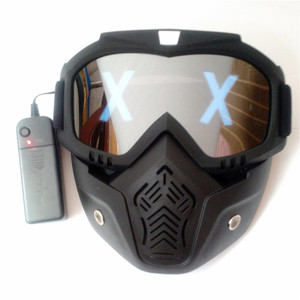 Image 4 - LED Lights Mask Luminous Half Face X Glowing Eyes DIY Eyewear Mask Removable masks DJ Party Halloween Cosplay Prop Gift