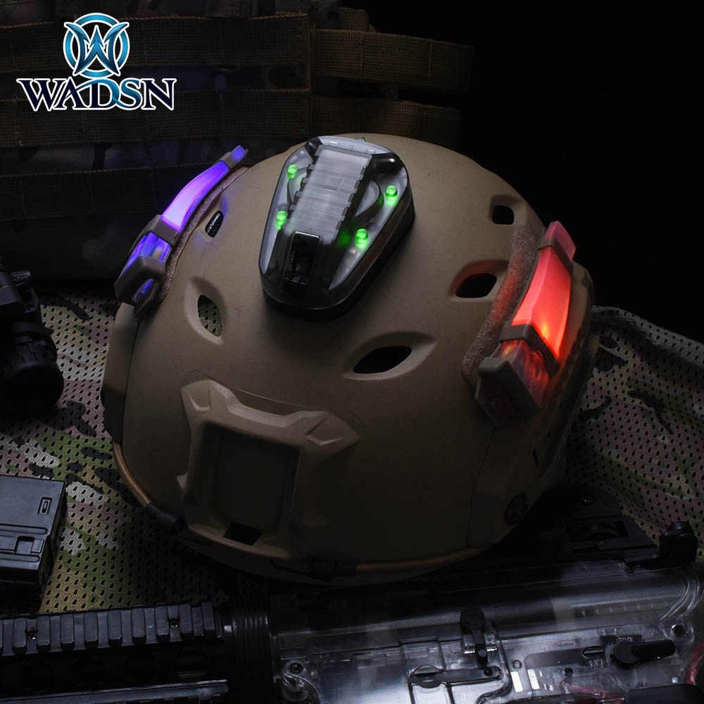 Wadsn airsoft capacete luz hel estrela 6 gen 3 sinal verde vermelho ir strobe lâmpada à prova dwaterproof água militar capacete de sobrevivência lanterna