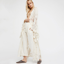 New Womens Embroidered Dress Bohemian Cardigan Lace Long Sleeve V-neck Women Solid Color Plus Size Clothes
