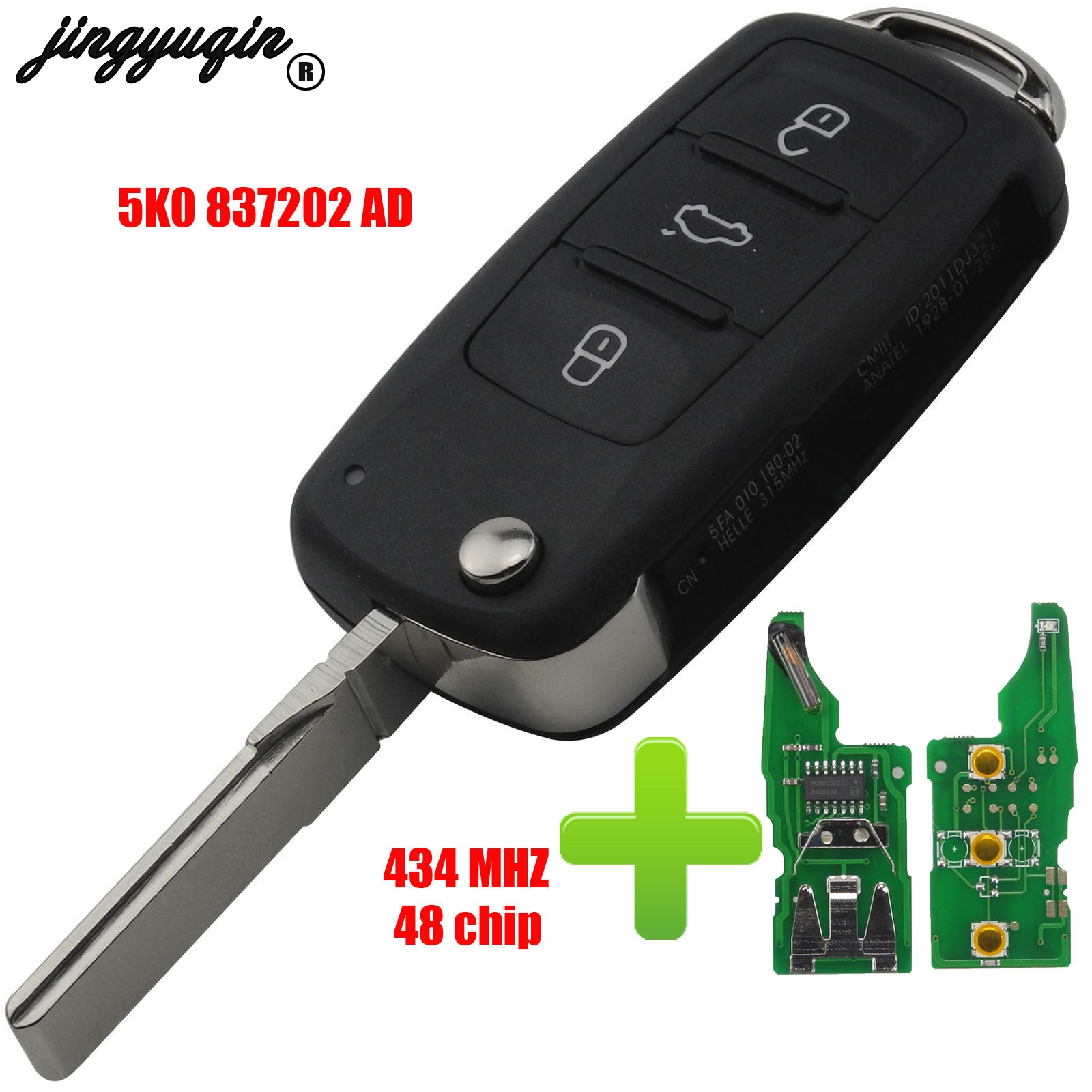 jingyuqin 5K0 837 202 AD Remote Key for VW/VOLKSWAGEN 5K0837202AD Beetle/Caddy/Eos/Golf/Jetta/Polo/Scirocco/Tiguan/Touran/UP|Car Key| |  - title=